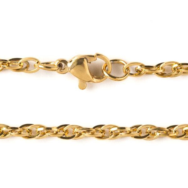 Gold Stainless Steel 3mm Rope Chain Necklace - 24 inch, SS08g-24