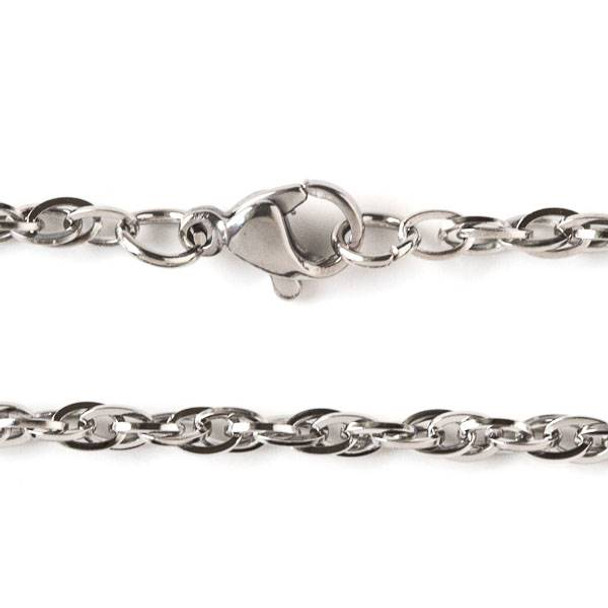 Silver Stainless Steel 3mm Rope Chain Necklace - 32 inch, SS08s-32