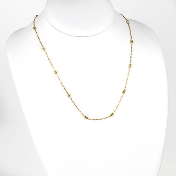 Gold Stainless Steel 3mm Ball and Curb Chain Necklace - 20 inch, SS09g-20