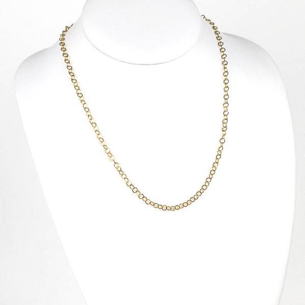Gold Stainless Steel 4mm Cable Chain Necklace - 20 inch, SS10g-20