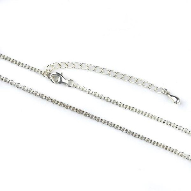 """Sterling Silver 2mm Rolo Chain 16"""" Necklace with a 2 inch adjustable chain"""