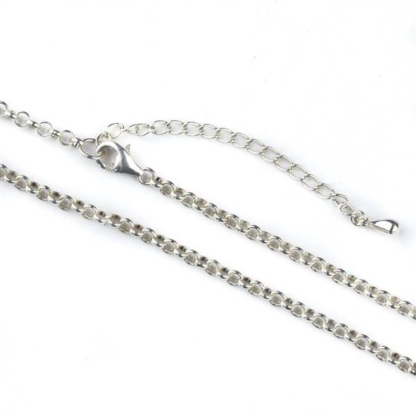 """Sterling Silver 3mm Rolo Chain 18"""" Necklace with a 2 inch adjustable chain"""