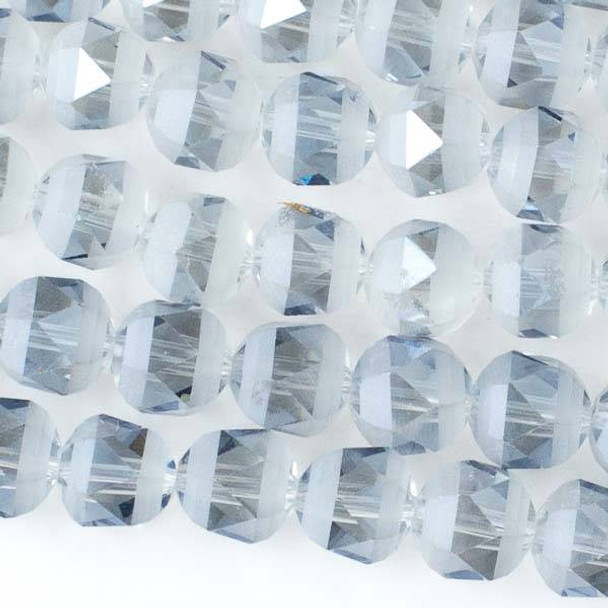 Crystal Orbits Matte 10mm Faceted Round Beads Ice Blue - Approx. 15.5 inch strand