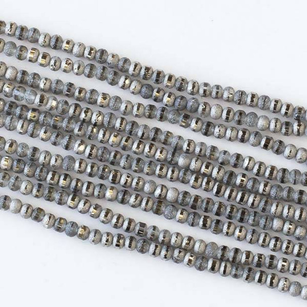 Crystal Orbits Matte and Striped 3mm Grey Rondelle Beads - Approx. 15.5 inch strand