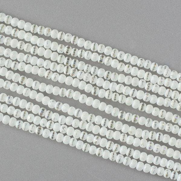 Crystal Orbits Matte and Striped 3mm Pale Yellow Rondelle Beads with an AB finish - Approx. 15.5 inch strand