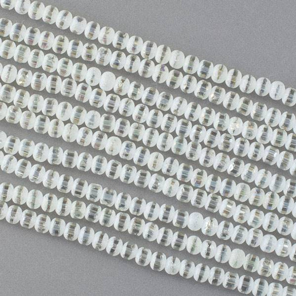 Crystal Orbits Matte and Striped 4mm Pale Yellow Rondelle Beads with an AB finish -Approx. 15.5 inch strand