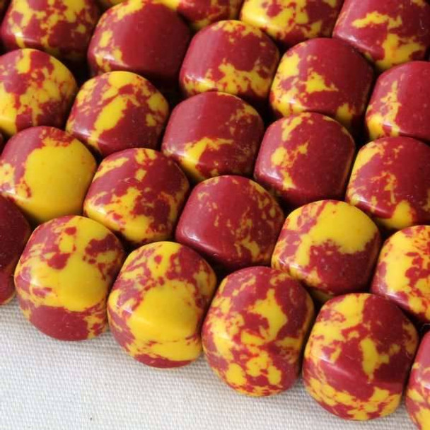 Synthetic Team Color 8mm Burgundy and Yellow Cushion Beads - approx. 8 inch strand