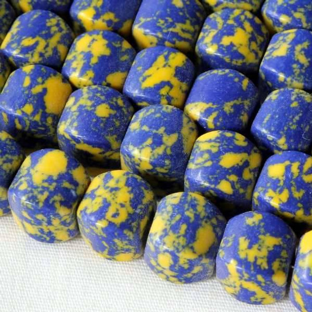 Synthetic Team Color 8mm Yale Blue and Yellow Cushion Beads - approx. 8 inch strand