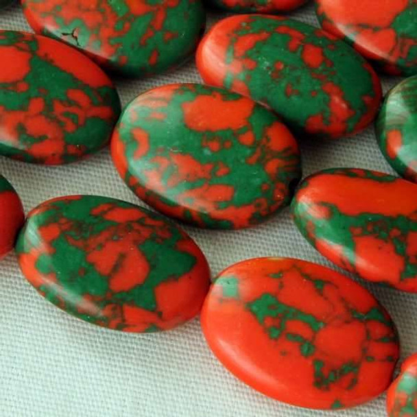 Synthetic Team Color 10x14mm Orange and Green Oval Beads - approx. 8 inch strand