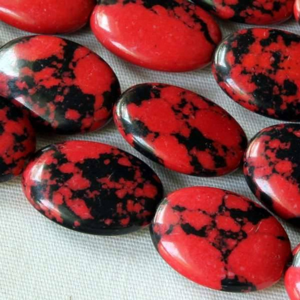 Synthetic Team Color 10x14mm Red and Black Oval Beads - approx. 8 inch strand
