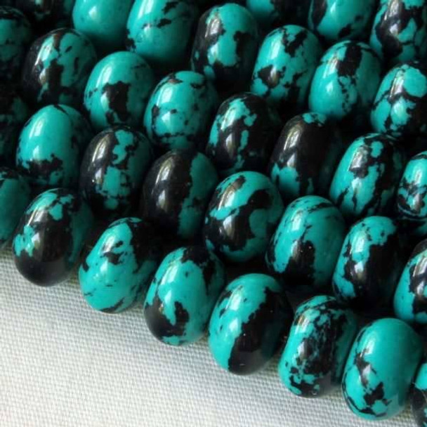 Synthetic Team Color 8mm Teal and Black Rondelle - approx. 8 inch strand