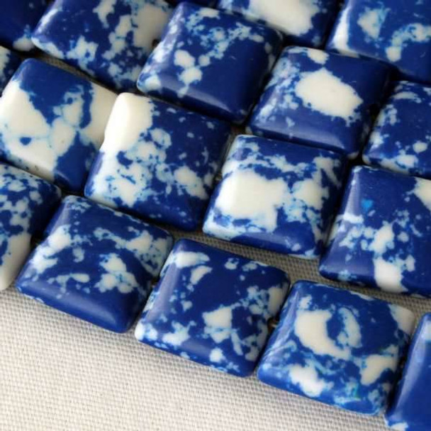 Synthetic Team Color 10mm Blue and White Square - approx. 8 inch strand