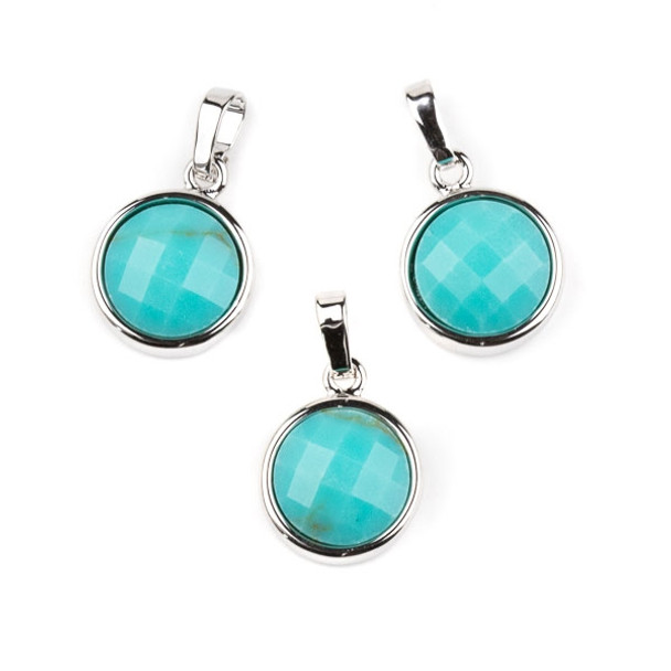 Synthetic Turquoise 12mm Faceted Coin Pendant with Silver Plated Bezel and Bail -  1 per bag