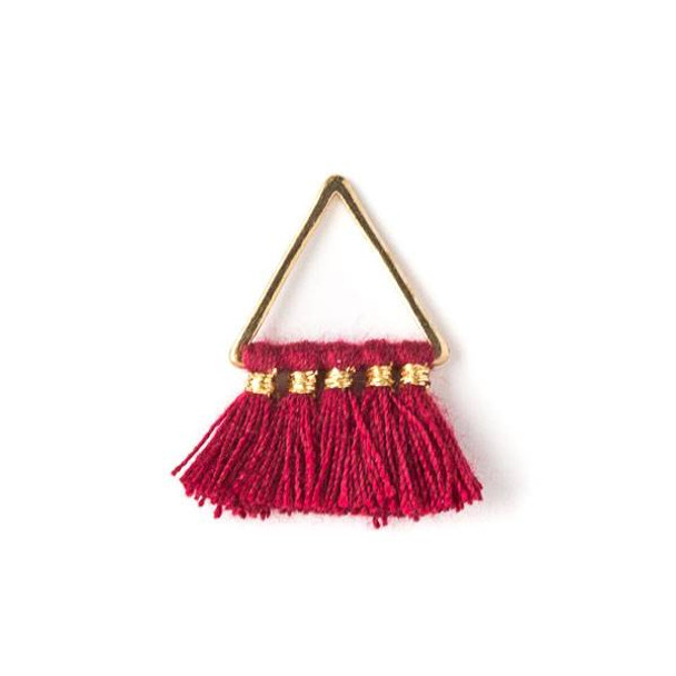 Gold Colored Brass 15mm Triangle Components with Red 10mm Nylon Tassels - 2 per bag, tascom-003