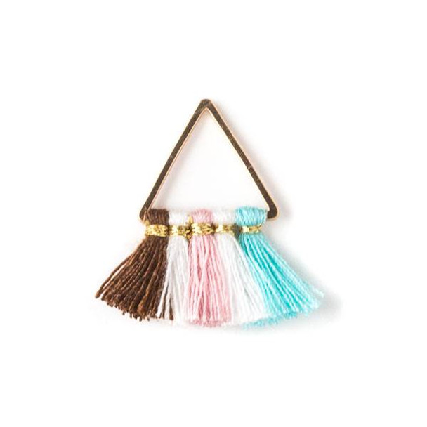 Gold Colored Brass 15mm Triangle Components with Brown, White, Pink, and Turquoise Blue 10mm Nylon Tassels - 2 per bag, tascom-012