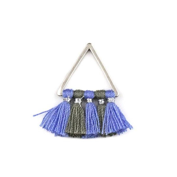 Silver Plated Brass 15mm Triangle Components with Periwinkle and Grey 10mm Nylon Tassels - 2 per bag, tascom-CX-21
