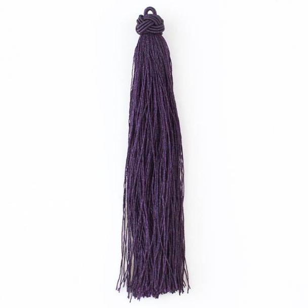 """Dark Plum Purple 5"""" Nylon Tassels - 2 per bag"""