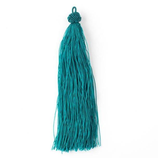 "Peacock Feather Teal 5"" Nylon Tassels - 2 per bag"