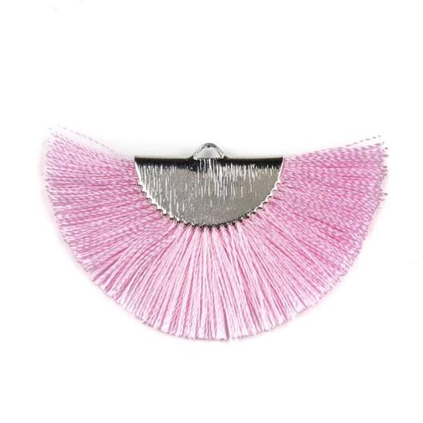 Pink 26x45mm Fan Tassel Silver Plated Brass Components - 1 per bag, tascom-CX-01