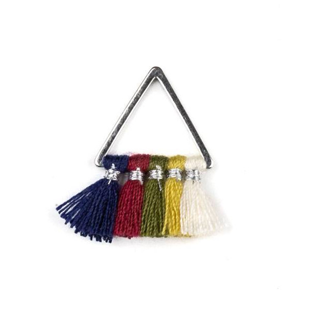 Silver Plated Brass 15mm Triangle Components with Navy Blue, Red, Green, Yellow, and Cream 10mm Nylon Tassels - 2 per bag, tascom-CX-26
