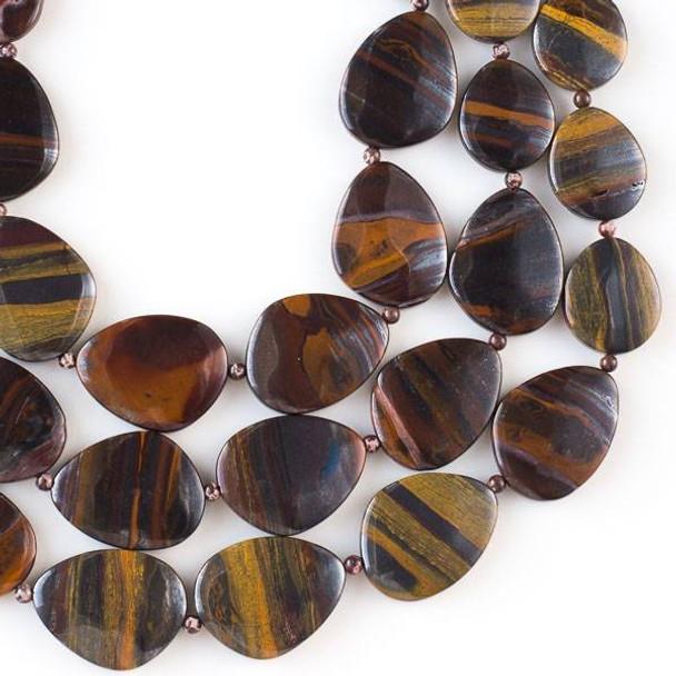 Tiger Iron Jasper 20x30mm-30x40mm Free Form Graduated Slab Beads alternating with 4mm Round Beads - 16 inch strand