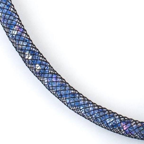 Medium Sapphire Blue Crystal AB with Black Mesh Necklace