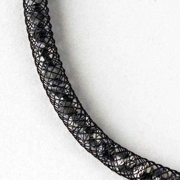 Silver Crystal with Black Mesh Necklace