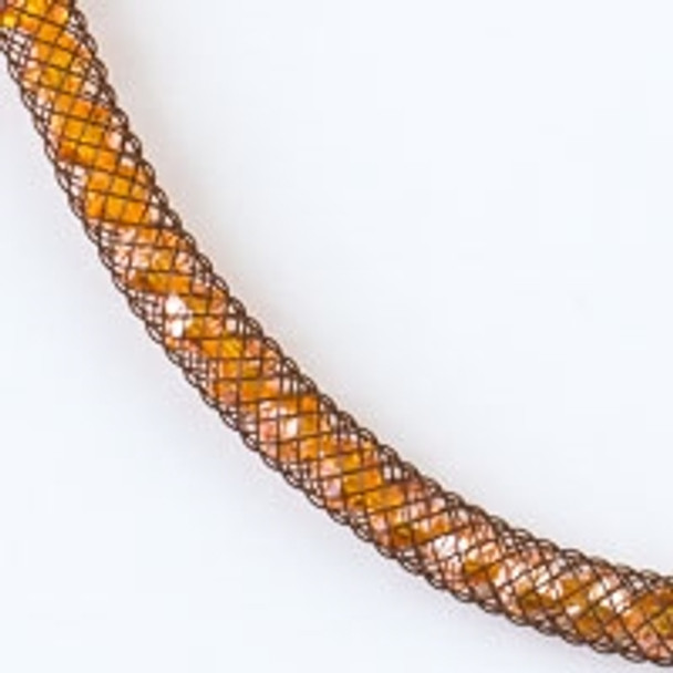 Orange Crystal with Brown Mesh Necklace