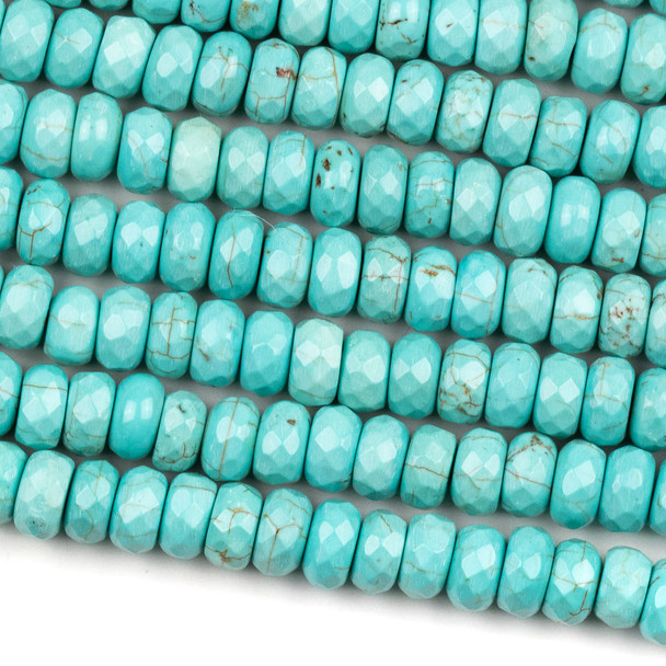 Turquoise Howlite 4x8mm Faceted Tire/Rondelle Beads - 14 inch strand