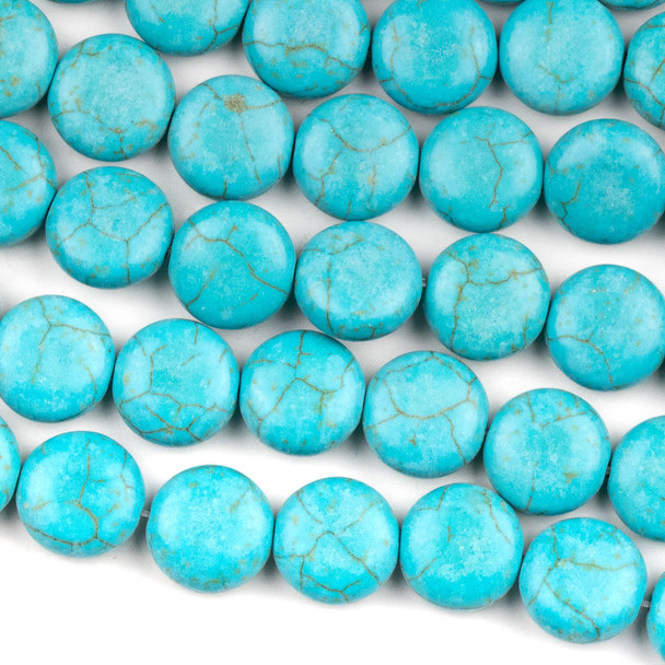 Turquoise Howlite 12mm Coin Beads - 15.5 inch strand