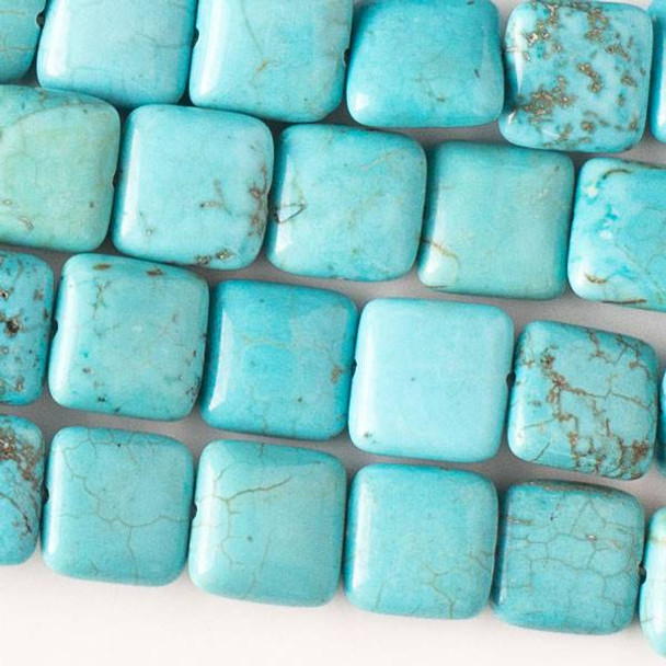 Turquoise Howlite 10mm Square Beads - approx. 8 inch strand, Set A