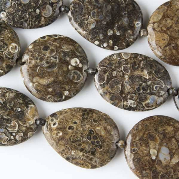 Turritella Agate 30x40mm Teardrops, 30x40mm Oval, and 35mm Coins alternating with 4mm Rounds - approx. 8 inch strand