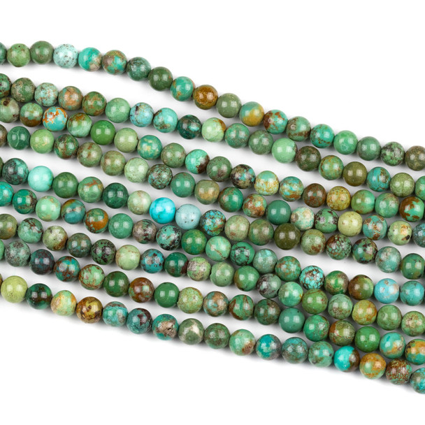 Chinese Turquoise 6mm Round Beads - 15 inch strand