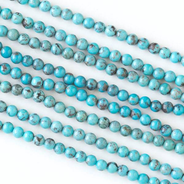 Blue Turquoise 4mm Round Beads - 16 inch strand