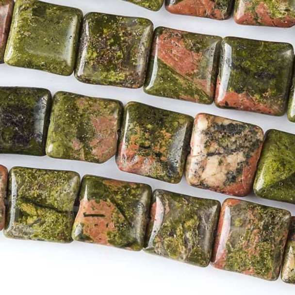 Unakite 10mm Square Beads - approx. 8 inch strand, Set A