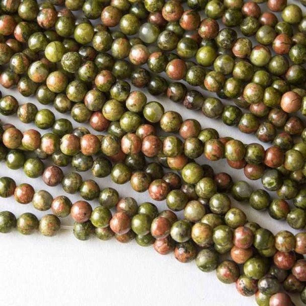 Unakite 4mm Round Beads - 16 inch strand