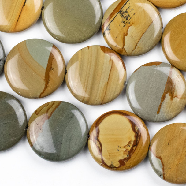 Wild Horse Picture Jasper 30mm Coin Beads - 16 inch strand