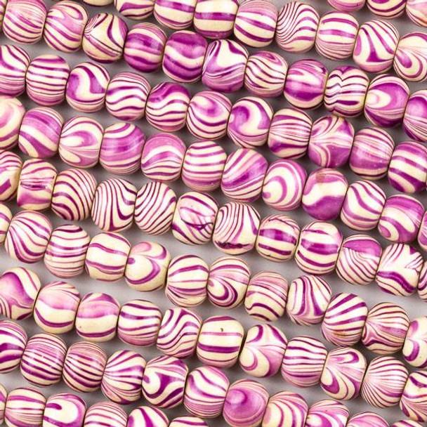 Printed Wood 8mm Swirled Purple and Cream Round Beads - 16 inch strand