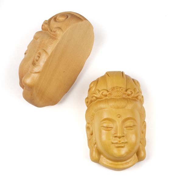 Carved Wood Focal Pendant - 23x37mm Boxwood Top Drilled Kuan Yin with Flower Crown, 1 per bag