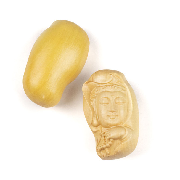 Carved Wood Focal Pendant - 21x35mm Boxwood Top Drilled Kuan Yin Holding Prayer Beads, 1 per bag