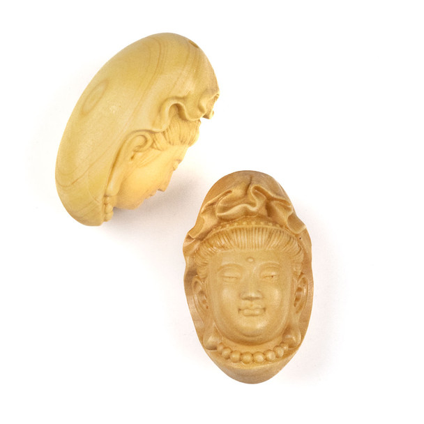 Carved Wood Focal Pendant - 21x35mm Boxwood Top Drilled Kuan Yin Wearing Beads, 1 per bag