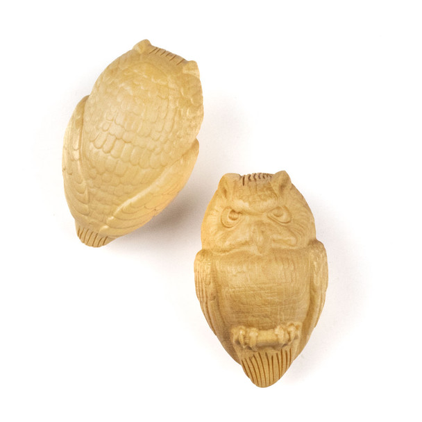 Carved Wood Focal Pendant - 21x35mm Boxwood Top Drilled Owl, 1 per bag