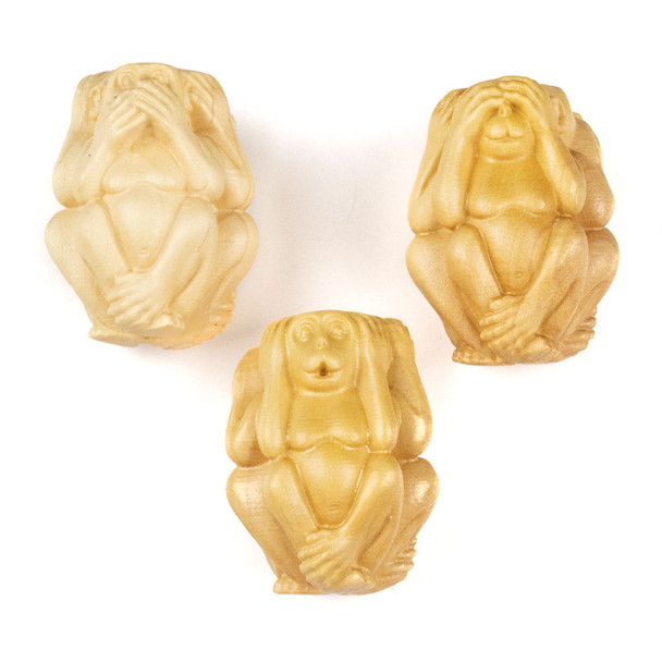 Carved Wood Focal Bead - 22x29mm Boxwood Hear No Evil, See No Evil, Speak No Evil Monkeys, 1 three-sided bead per bag