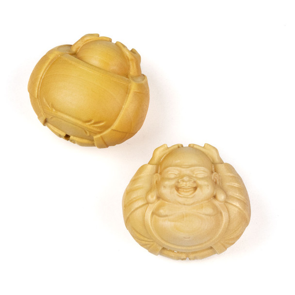Carved Wood Focal Bead - 27x30mm Boxwood Laughing Buddha with Raised Arms, 1 per bag