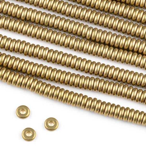 Raw Brass 1.5x4mm Rondelle Spacer Beads with approximately 1.3mm Hole - approx. 8 inch strand