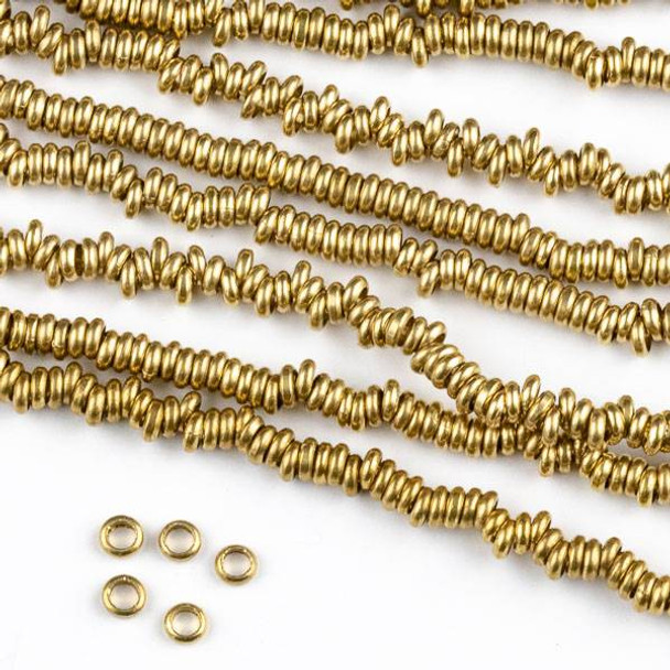 Raw Brass 1x3mm Rondelle Spacer Beads with approximately 1.75mm Large Hole - approx. 8 inch strand