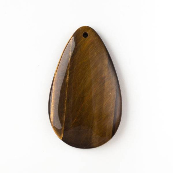 Yellow Tigereye 30x50mm Top Front to Back Drilled Teardrop Pendant with a Flat Back - 1 per bag