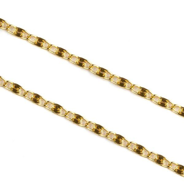Gold Plated Stainless Steel 2mm Snail Chain - 1 meter, SS06g-1m