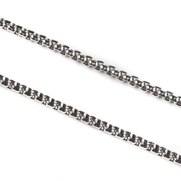 Natural Silver Stainless Steel 2mm Cable Chain - 10 meter spool, SS03s-sp