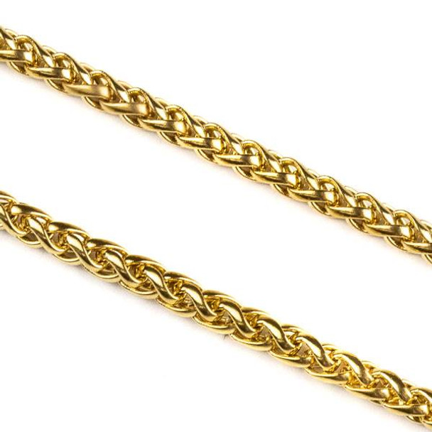 Gold Plated Stainless Steel 3mm Spiga/Wheat Chain - 10 meter spool, SS02g-sp